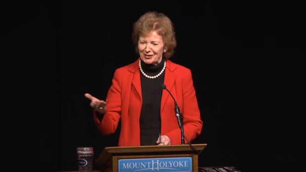 Photo of Mary Robinson, Former President of Ireland Former United Nations High Commissiner for Human Rights giving a speech at Mount Holyoke College