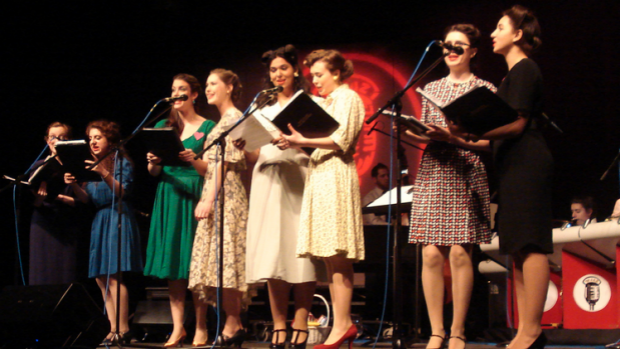 """Singers in the 2013 """"The Big Broadcast!""""  Photo by Olivia Lammel '14"""