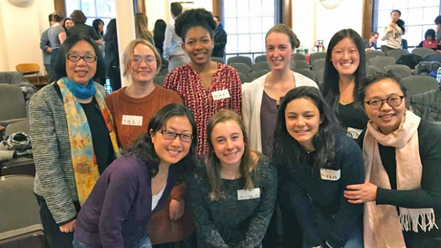 Contest participants: (back row from left) Ying Wang (faculty), Virginia Henning '20, Odiche Nwabuikwu '18, Gillian Hagen '20 and Clara Wang '19. (Front row from left) Lei Yan (faculty), Sarah Ratzlaff '20, Catherine Peabody '20 and Lisha Xu (faculty).