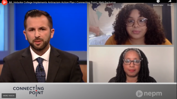 """Kijua Sanders-McMurtry (lower right) and Angelis Liriano '22 (upper right) spoke with Connecting Point about the action plan to ensure the College would be """"persistent and uncompromising"""" in addressing all forms of implicit and explicit racism."""