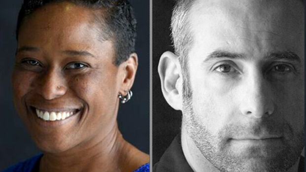 Rabbis Sandra Lawson and Josh Lesser staring into the camera side-by-side