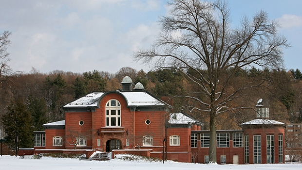 Image of Blanchard Campus Center in winter.