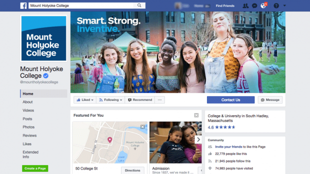 Image of the official Mount Holyoke College Facebook page