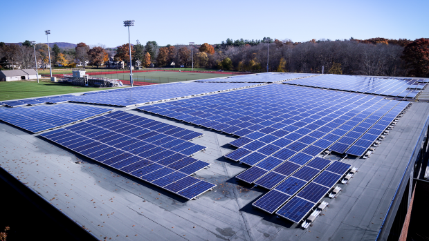 Photo of the solar panels on the roof of Kendade