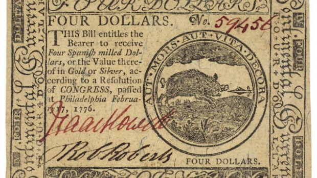 Picture of a Continental 4 Dollar Note