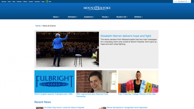 Image of the News and Events page