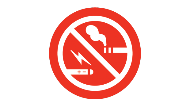Red No Smoking, No Vaping sign