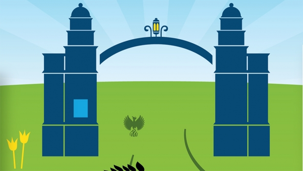 Graphic of Mount Holyoke gates
