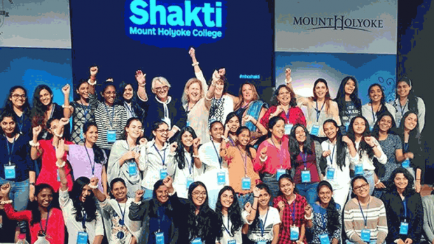 Photo of Acting President Sonya Stephens, Vice President for Enrollment Gail Berson and Director of International Admissions Amy Markham, with Shakti participants.