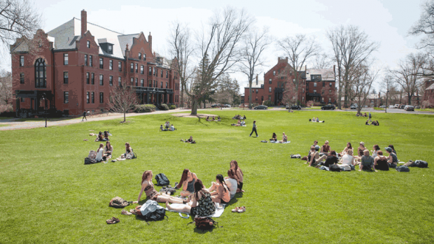 Photo of students on Skinner Green