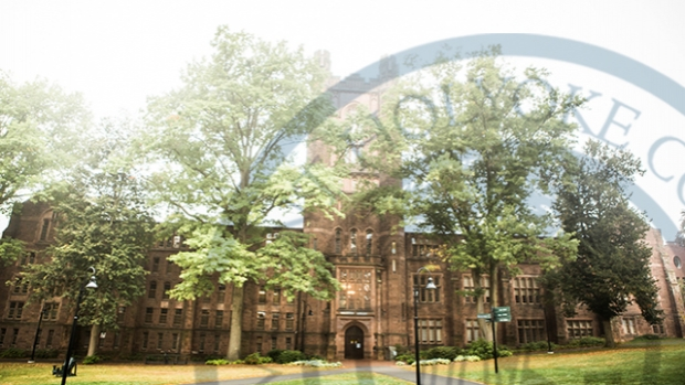 Photo the Williston library with an overlay of the College seal