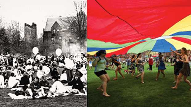 Split photo of students celebratin Pangy Day in 1980 and 2015