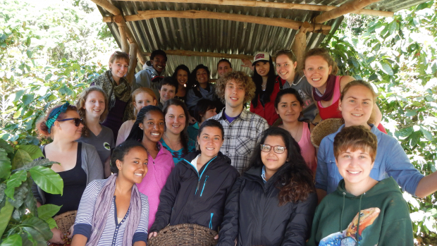 Photo of a group of students on a study abroad trip in Coste Verde