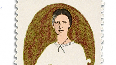 Emily Dickinson's illustrated image on a postage stamp.