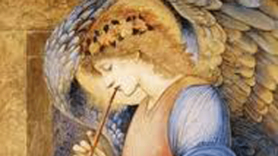 Illustration of an angel playing a trumpet