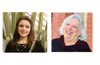 Orchestra soloists Hannah Pozzebon '20 and Professor of Music Linda Laderach