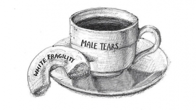 male tears in a cup and half donut White Fagility