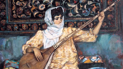 Painting of a silk road musician