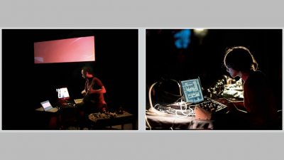 Side by side photos of students working with musical techonology and a digital screen