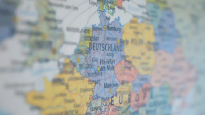 Photo of a portion of a map of Europe with Germany in the center
