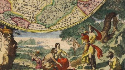 Photo of a baroque painting depicting people underneath a round map of the world