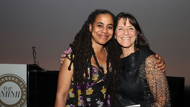 This is a picture of Suzan-Lori Parks with Mount Holyoke Senior Lecturer Leah Glasser, at the gala presentation of the Steinberg Distinguished Playwright Award.