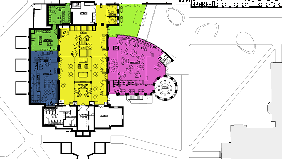 Colored floor plan of lower level.