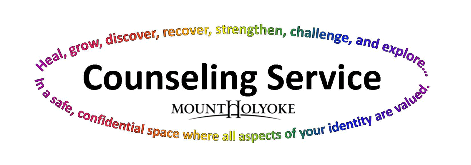 Graphic of Counseling Services with the Mount Holyoke logo
