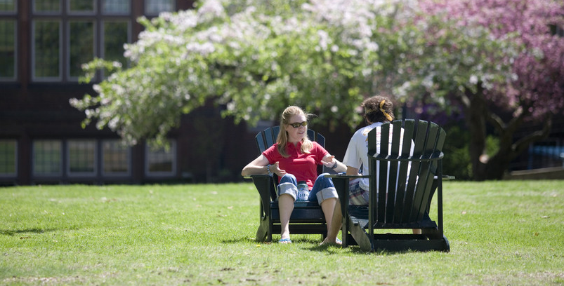 Two students on the green in the sun engaged in discussion.