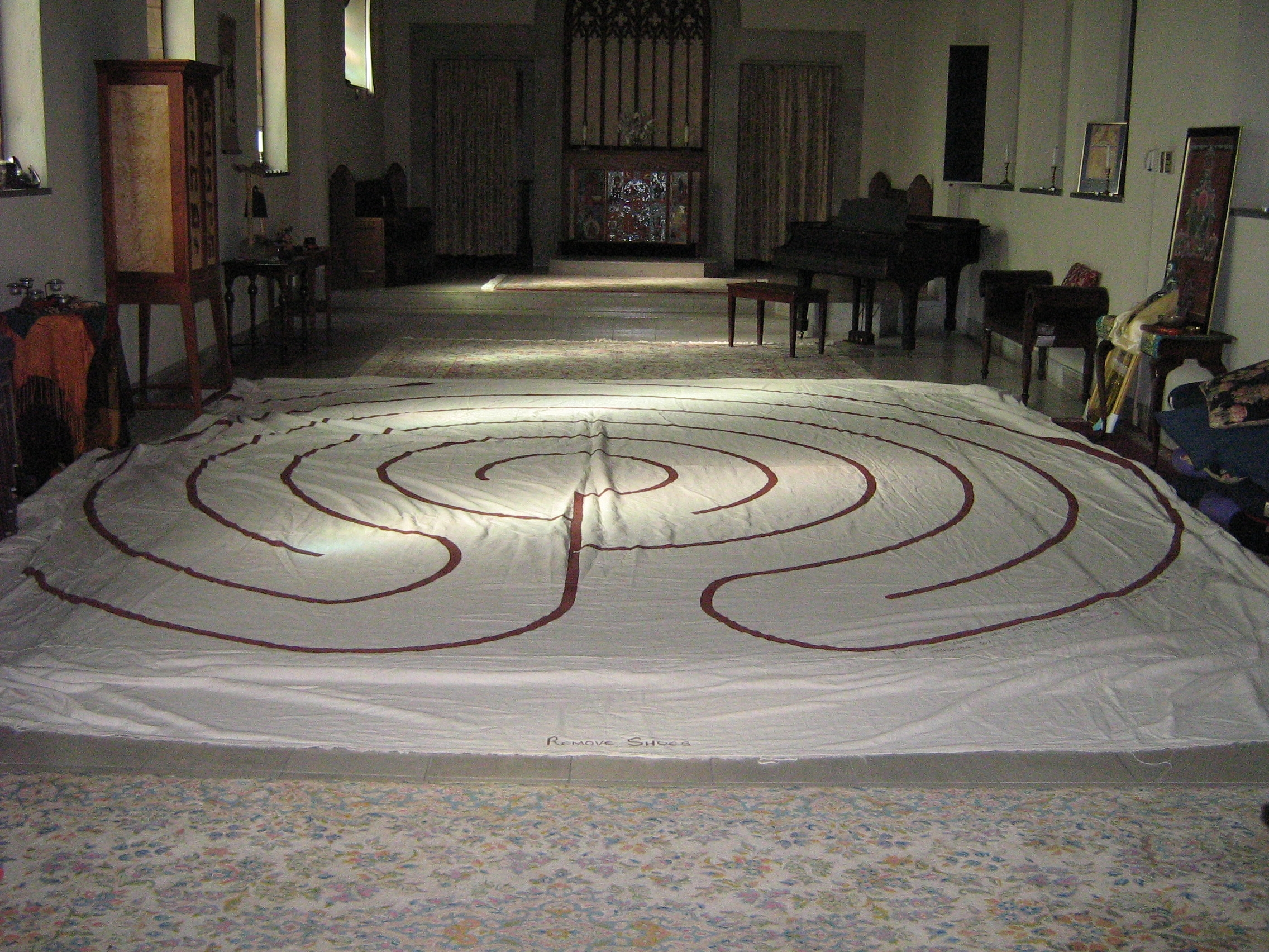 The Labyrinth spread out for use in the Abbey Interfaith Sanctuary