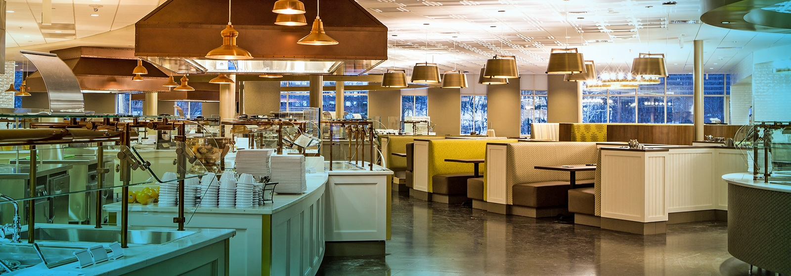 Photo of the inside of the new Dining Commons