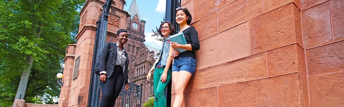 Image of students at Mount Holyoke College gate