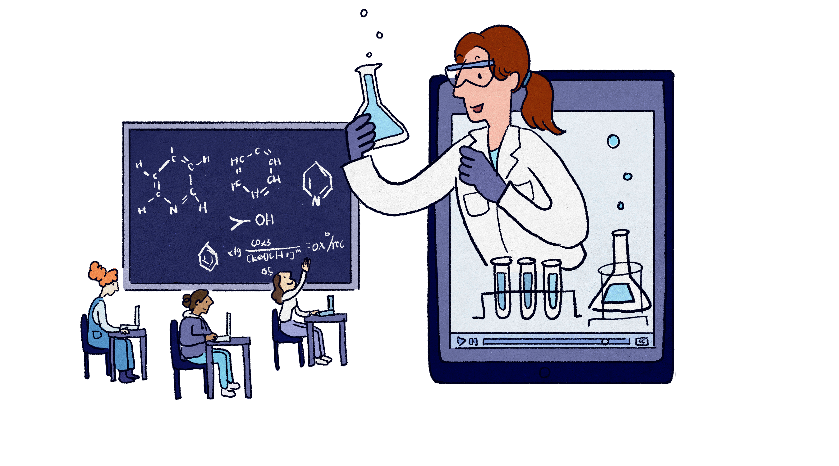 This is a graphic depicting a teacher holding a bubbling flask leaning out of an iPad to address students at desks as in a traditional classroom.