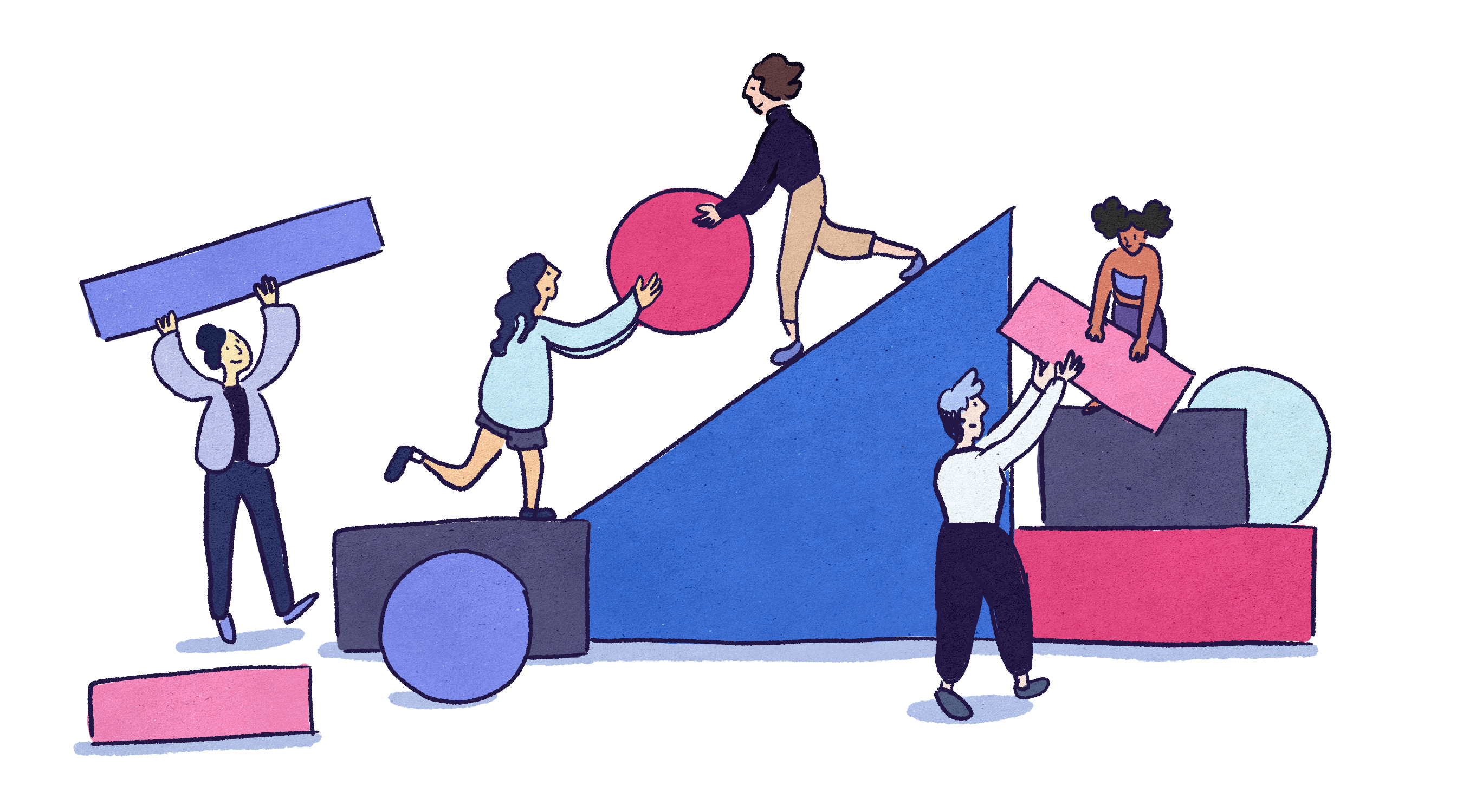 Illustration by Marina Li of five college students working together with giant colorful building blocks