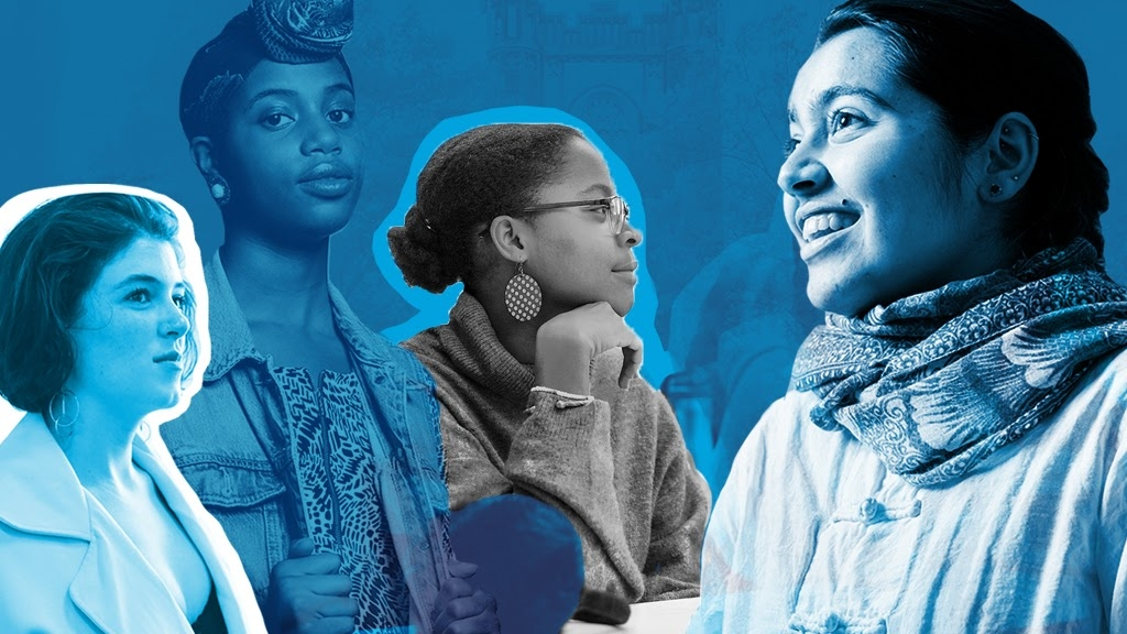 Now more than ever - a collage of students with a blue tint.