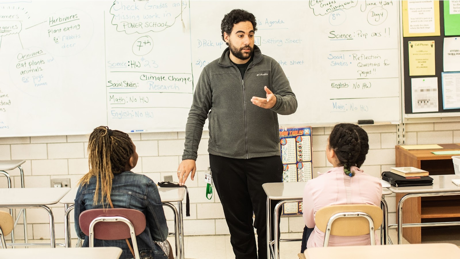 Teaching two students in a classroom