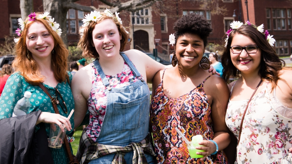 Image of four happy Mount Holyoke students