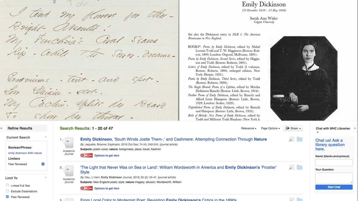 Primary and secondary sources for poet Emily Dickinson