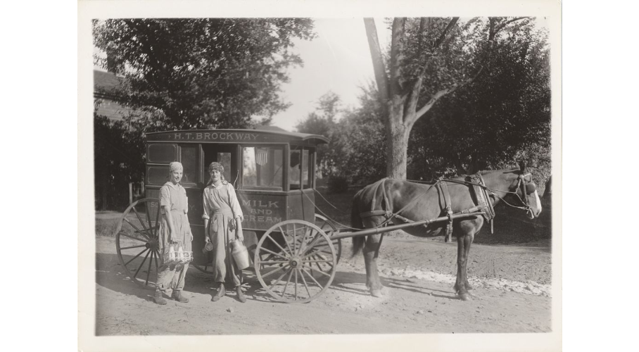 Mount Holyoke students delivering milk, circa 1917.