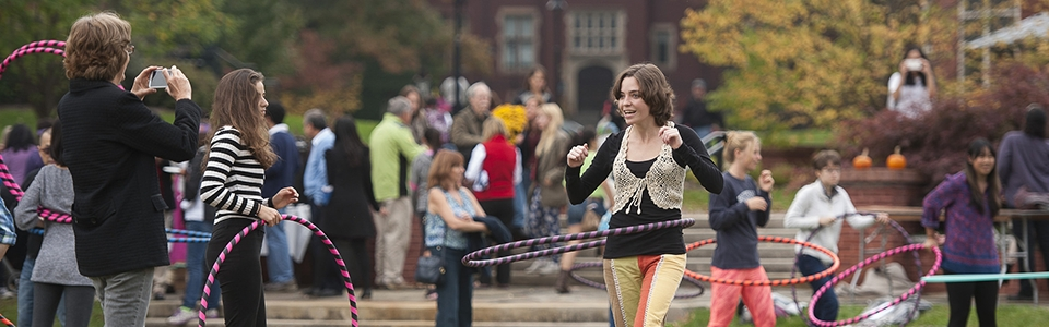 Image of student hula-hooping.