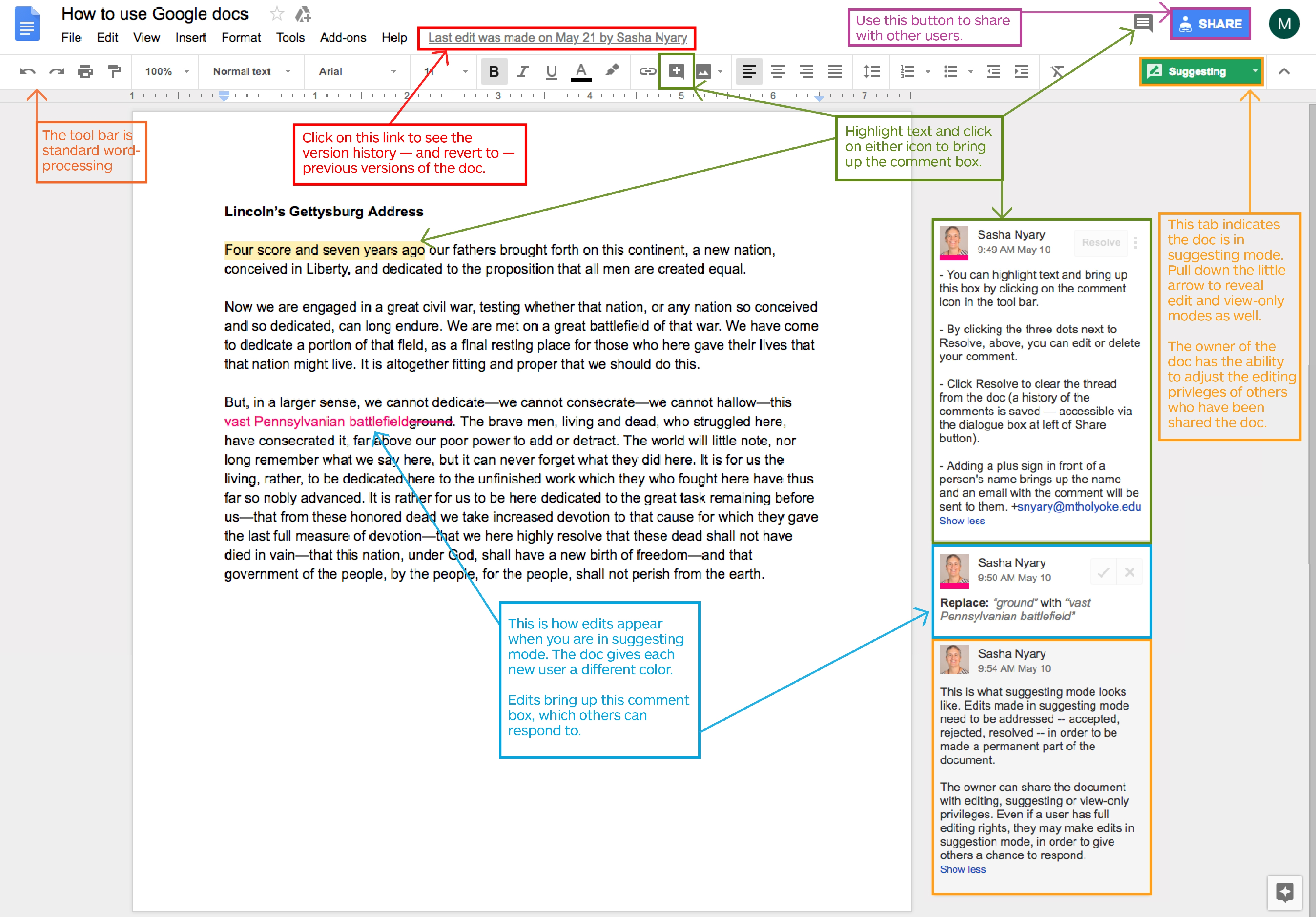 Image showing a google doc with text boxes and arrows explaing certain features