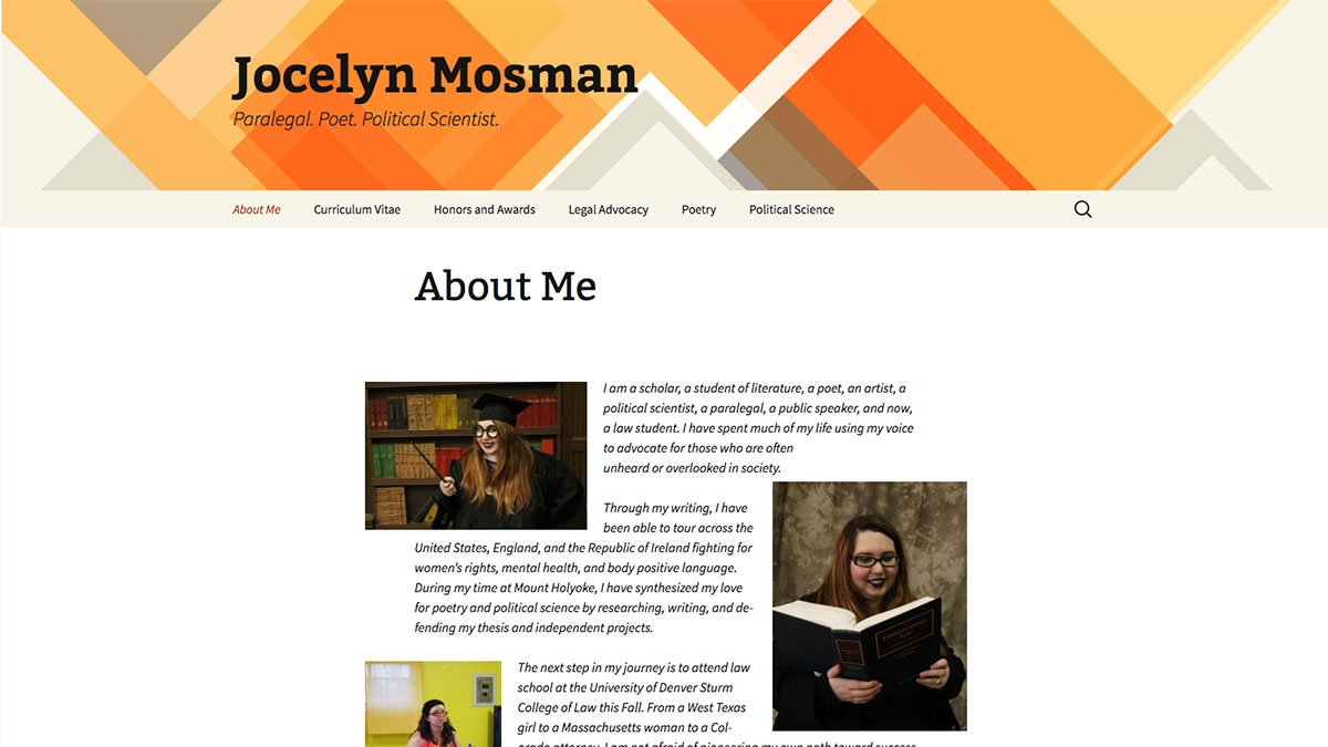 Screenshot of Jocelyn Mosman's eportfolio, linked later in text