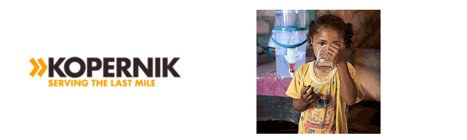 Photo of Kopernik logo and child with clean drinking water