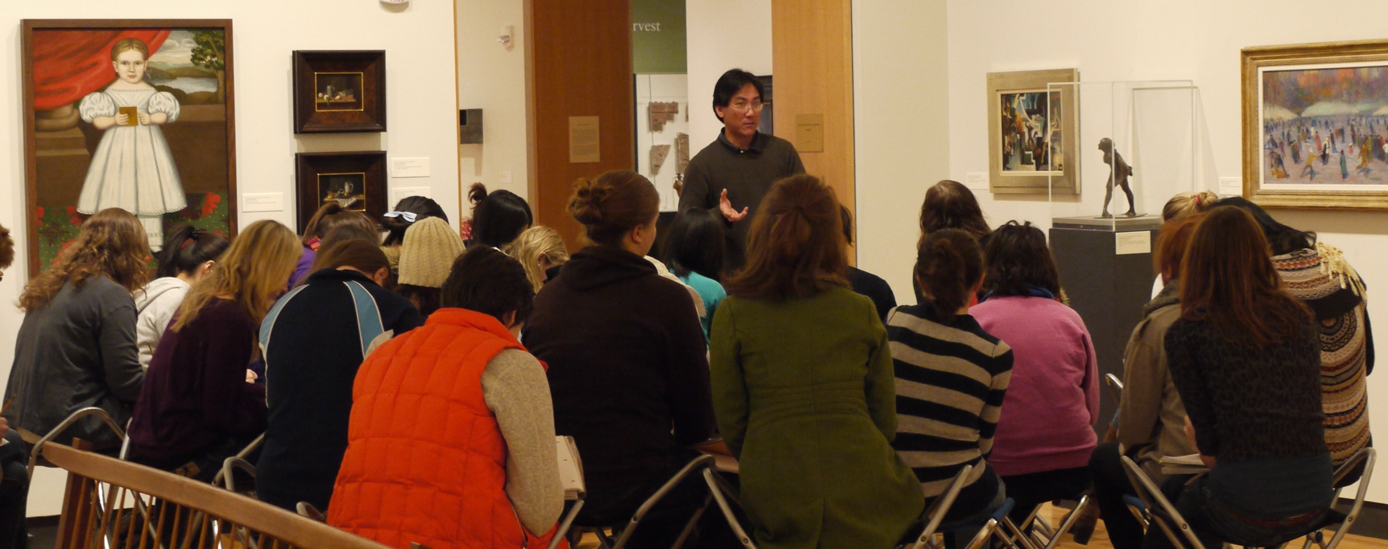 Professor Anthony Lee teaches a course in the MHC Art Gallery