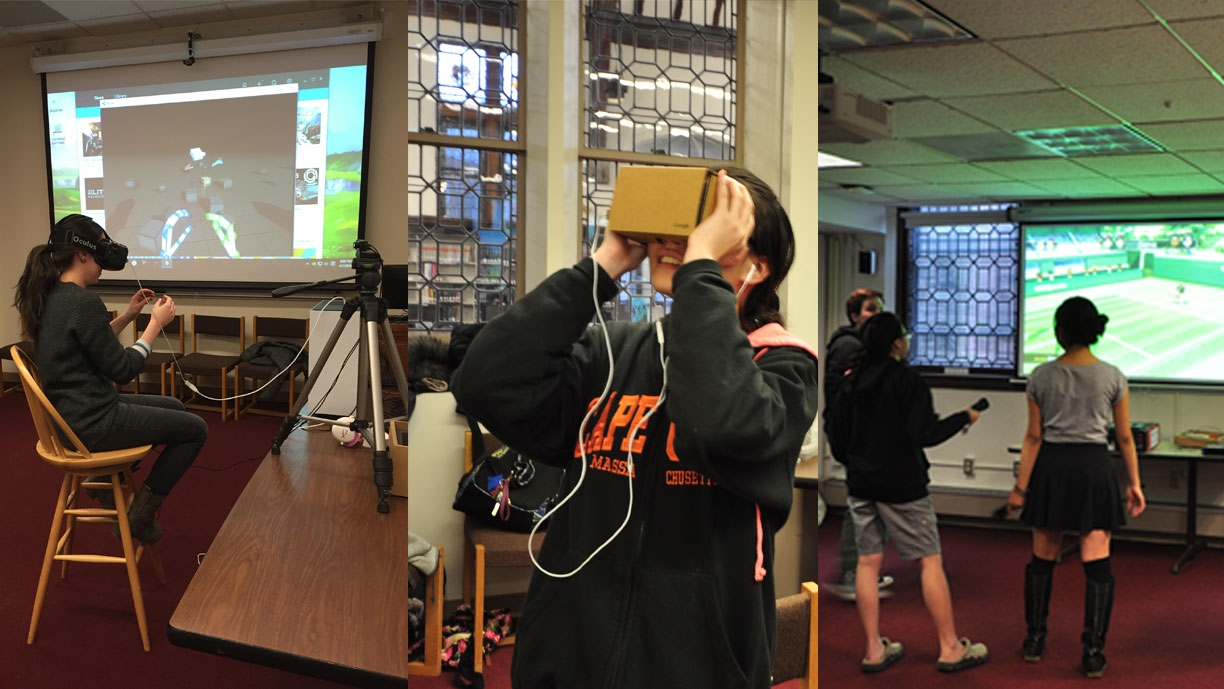 Students playing video games in the library