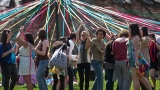 Students with the traditional Pangy Day maypole