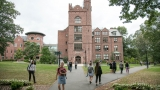Students outside of Mount Holyoke College's Clapp Hall