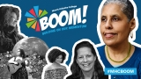 This is an image of the blue BOOM! logo overlaid with photographs of 2019 presenters, from left: Pamela Means, Diana Alvarez, Raquel Willis, Alison Cook-Sather and Barbara Smith