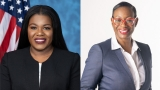 Rep. Bush and Nina Turner, two Black female legislators, smile into the camera
