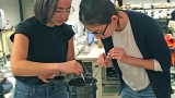 This is a photograph of students Erin Mullin '17 and Yihan Gao '19 tempering chocolate in the lab.